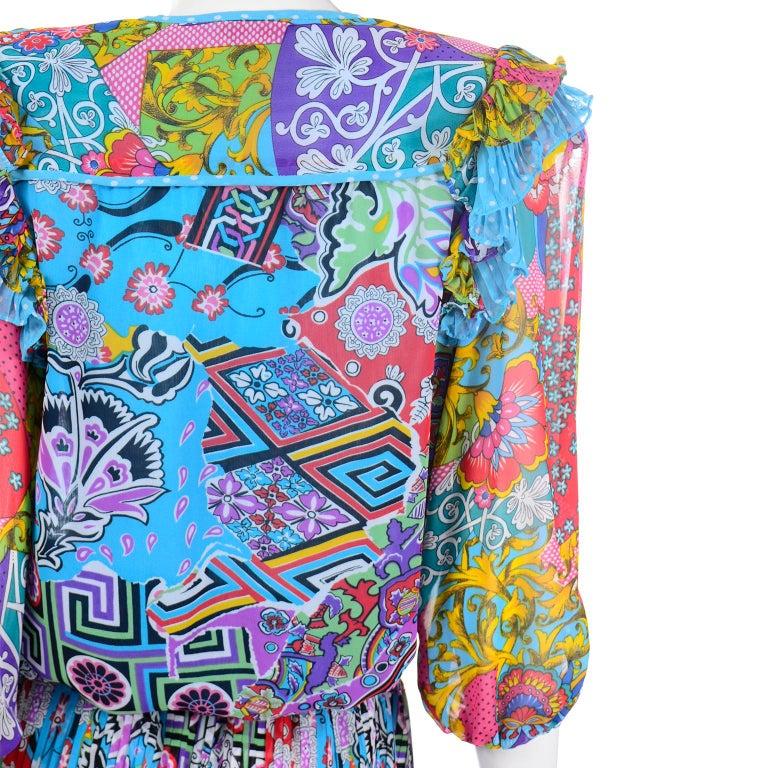 Diane Freis Vintage 1980s Abstract Print Dress W Ruffled Sleeves & Tassels For Sale 3