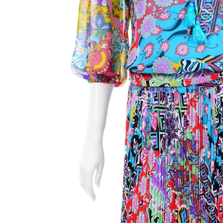 Diane Freis Vintage 1980s Abstract Print Dress W Ruffled Sleeves & Tassels For Sale 4