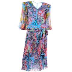 Diane Freis Vintage 1980s Abstract Print Dress W Ruffled Sleeves & Tassels