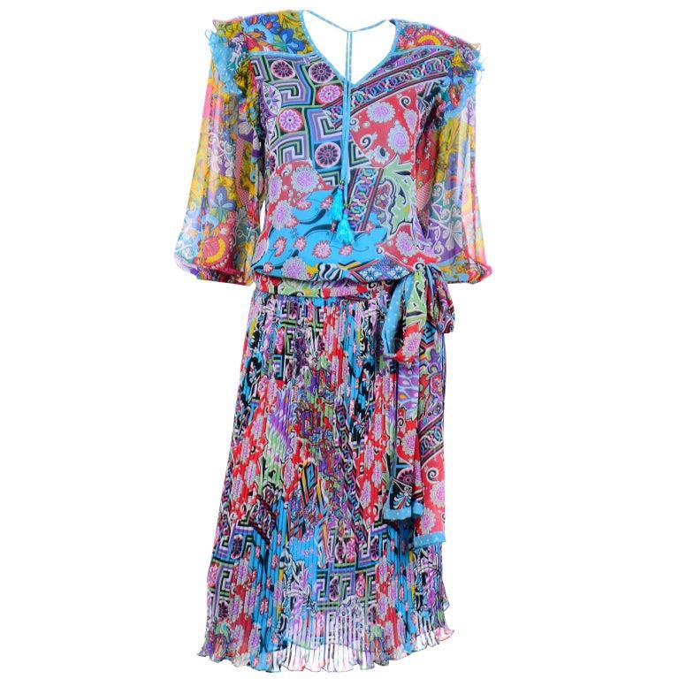 Diane Freis Vintage 1980s Abstract Print Dress W Ruffled Sleeves & Tassels For Sale