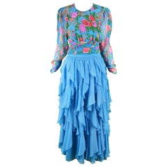 Diane Freis Vintage 1980's Beaded Blue Ruffle Silk Floral Georgette Dress