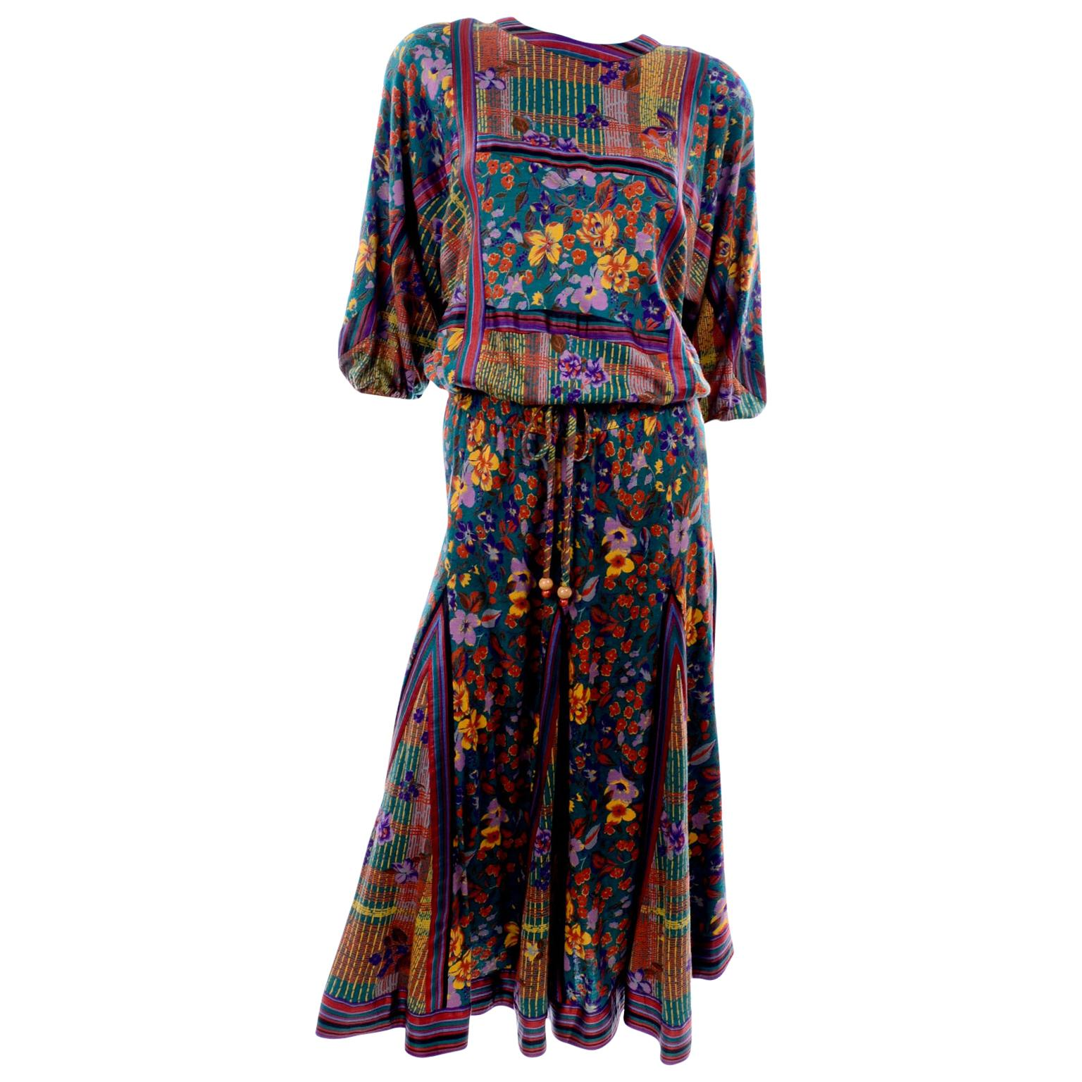 Diane Freis Vintage 2 Pc Dress W Drawstring Top & Gored Skirt in Floral Print