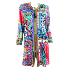 Diane Freis Vintage Beaded Jacket W Tassels in Abstract Bright Watercolor Print