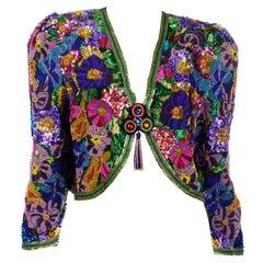 Diane Freis Vintage Heavily Beaded Colorful Floral Cropped Evening Bolero Jacket