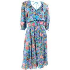 Diane Freis Vintage Multi Colored Blue Silk Floral Dress