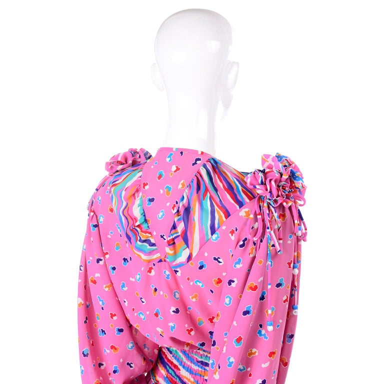 Diane Freis Vintage Pink Balloon leg Jumpsuit in Abstract Print w Puff Sleeves For Sale 6