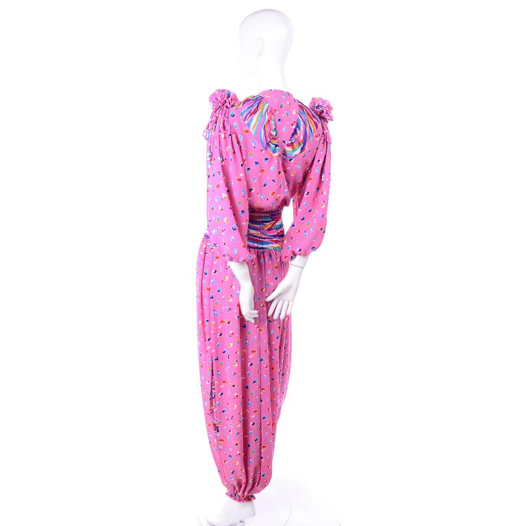 Women's Diane Freis Vintage Pink Balloon leg Jumpsuit in Abstract Print w Puff Sleeves For Sale