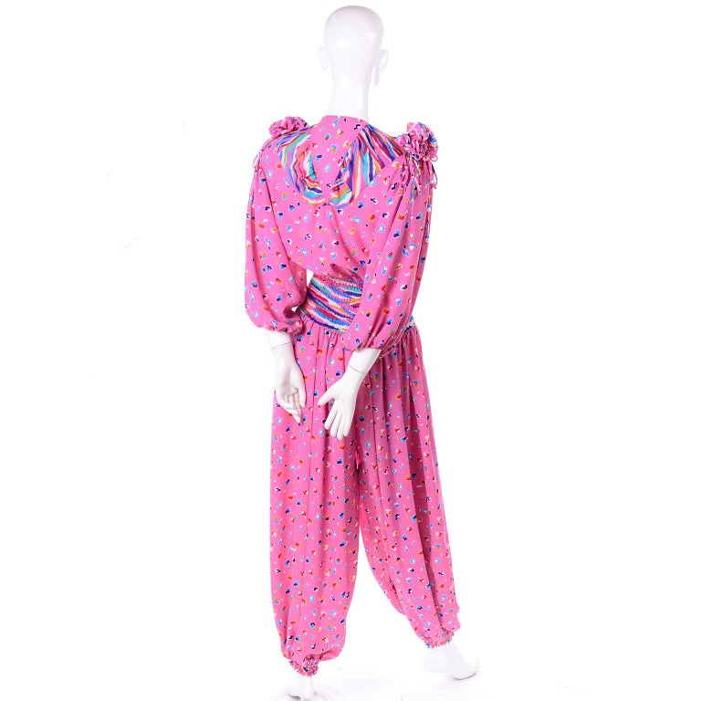 Diane Freis Vintage Pink Balloon leg Jumpsuit in Abstract Print w Puff Sleeves For Sale 1