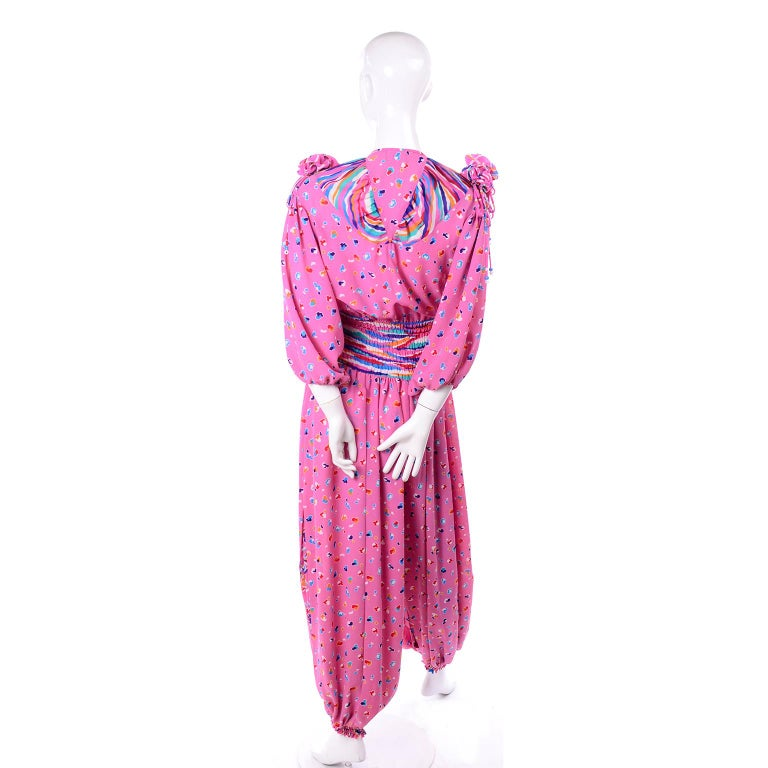 Diane Freis Vintage Pink Balloon leg Jumpsuit in Abstract Print w Puff Sleeves For Sale 2