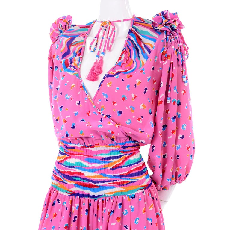 Diane Freis Vintage Pink Balloon leg Jumpsuit in Abstract Print w Puff Sleeves For Sale 3