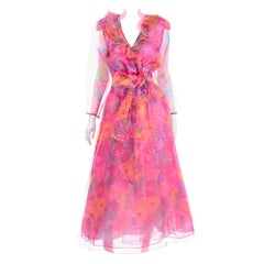 Diane Freis Vintage Pink Watercolor Polka Dot Ruffled Long Organza Dress