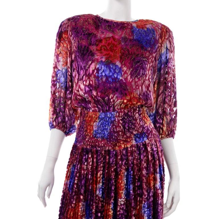 Diane Freis Vintage Purple Pink Velvet Metallic Silk Dress W Open Lattice Work 6