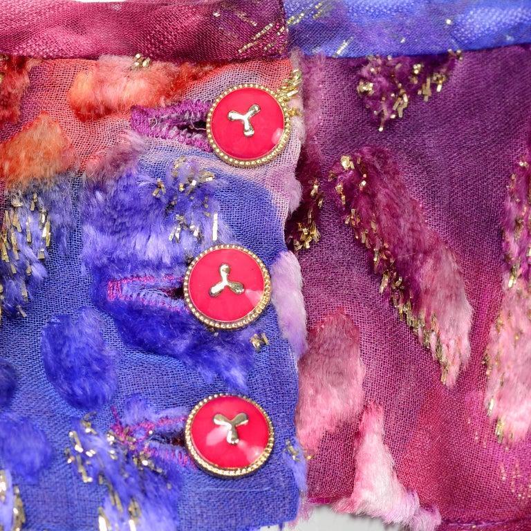 Diane Freis Vintage Purple Pink Velvet Metallic Silk Dress W Open Lattice Work 7