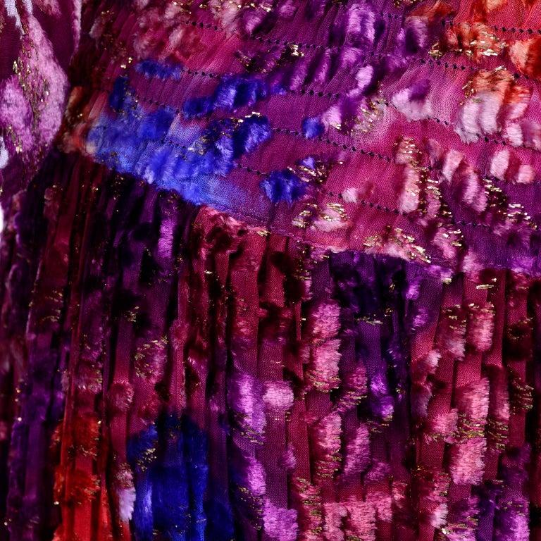 Diane Freis Vintage Purple Pink Velvet Metallic Silk Dress W Open Lattice Work 8