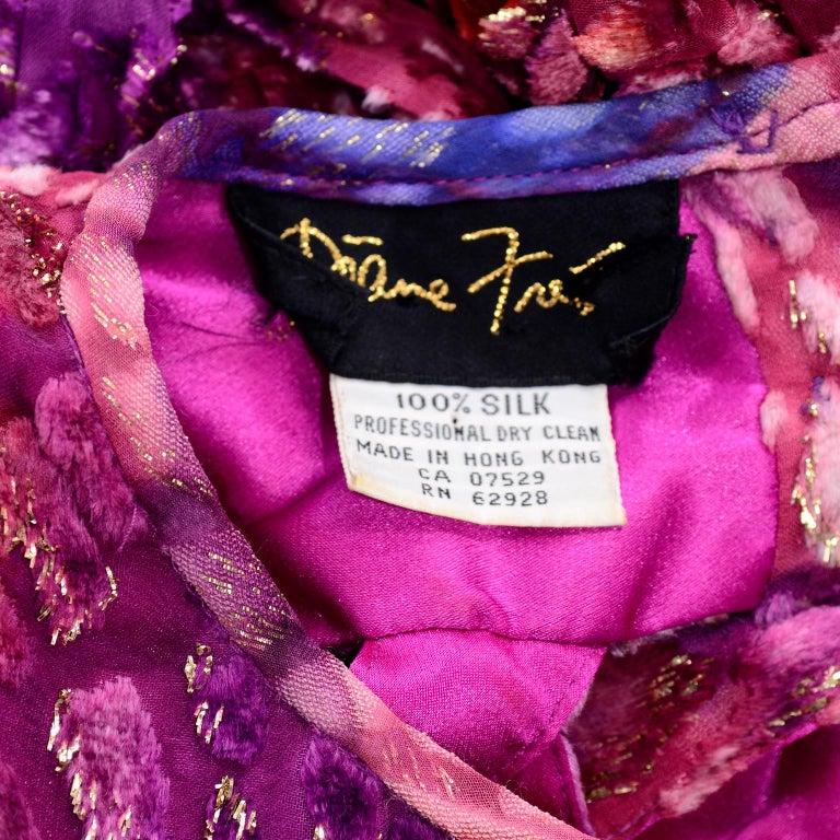 Diane Freis Vintage Purple Pink Velvet Metallic Silk Dress W Open Lattice Work 9