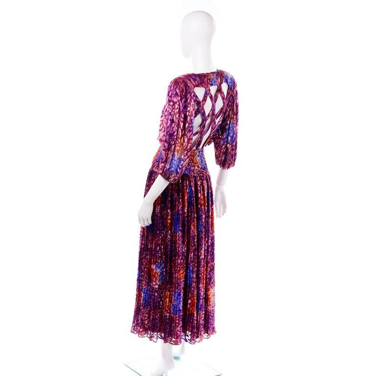 Women's Diane Freis Vintage Purple Pink Velvet Metallic Silk Dress W Open Lattice Work