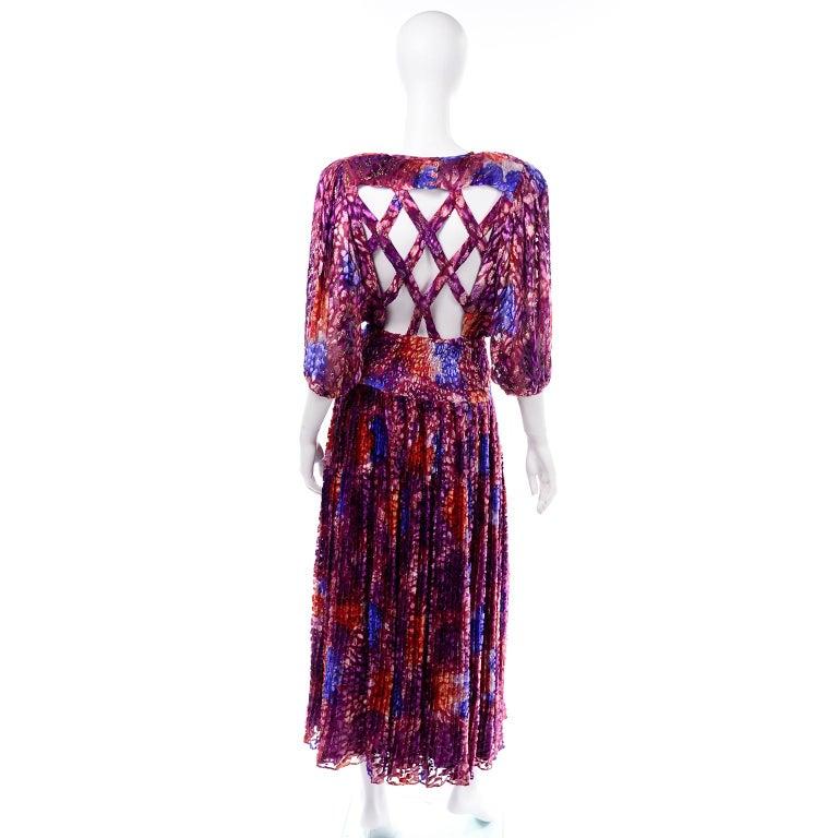 Diane Freis Vintage Purple Pink Velvet Metallic Silk Dress W Open Lattice Work 1