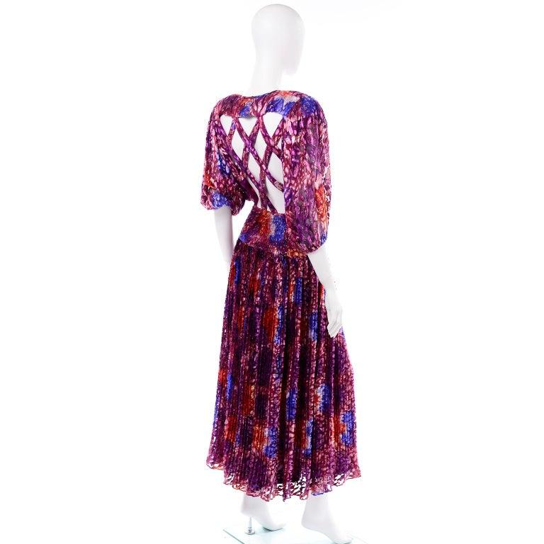 Diane Freis Vintage Purple Pink Velvet Metallic Silk Dress W Open Lattice Work 2