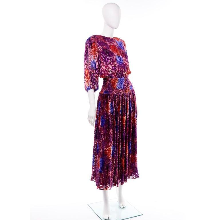 Diane Freis Vintage Purple Pink Velvet Metallic Silk Dress W Open Lattice Work 3