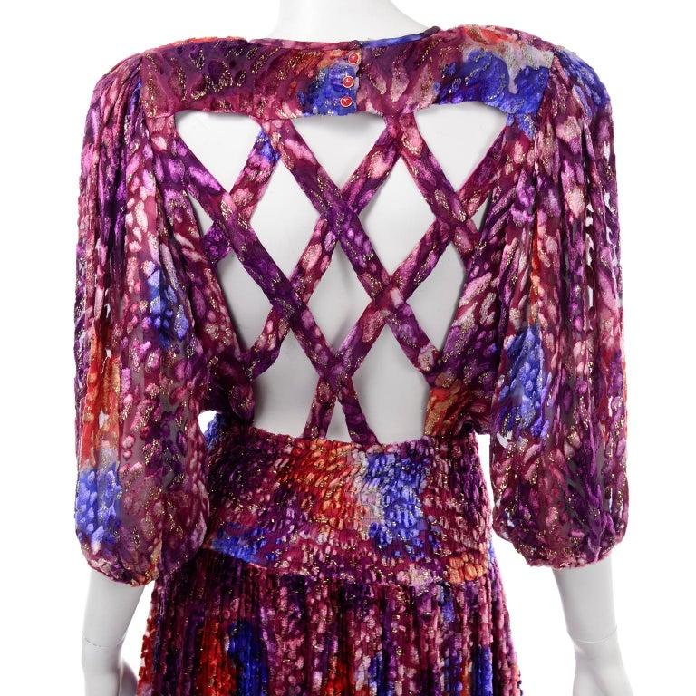 Diane Freis Vintage Purple Pink Velvet Metallic Silk Dress W Open Lattice Work 5