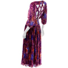 Diane Freis Vintage Purple Pink Velvet Metallic Silk Dress W Open Lattice Work