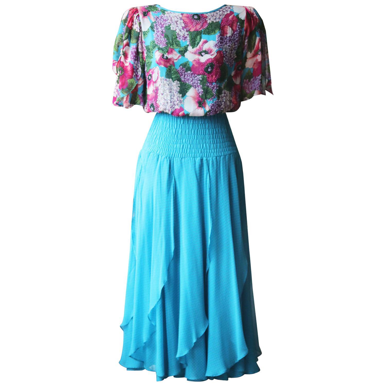 Diane Freis Vintage Ruffled Floral-Print Silk Midi Dress