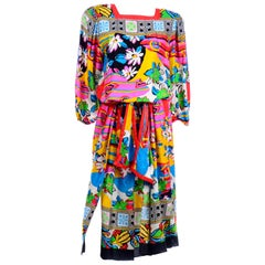 Diane Freis Vintage Silk 1980s Dress in a Colorful Bold Print With Belt