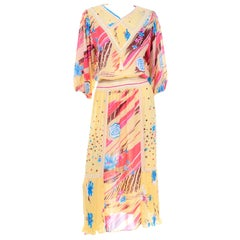 Diane Freis Vintage Yellow Pink  Brown and Blue Print Dress