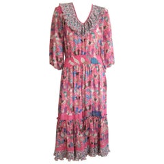 Diane Fres Ruffled Butterfly Georgette Floral Pink dress 1980s