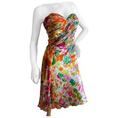 Diane Fres Strapless Silk Floral Embellished Cocktail Dress Size 14 New