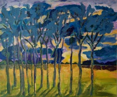 Evening Shadows - Post Impressionist Trees at Sunset Acrylic by Diane Hart