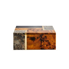 Greg Natale Diane Box with Black and Tiger Pen Shell, Grey Stone and Brass