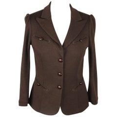 DIANE VON FURSTEMBERG Brown Wool BLAZER Jacket SIZE 4