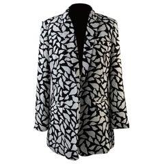 Diane Von Furstenberg Black and White Lips Vint Crepe Blazer Size 8 US