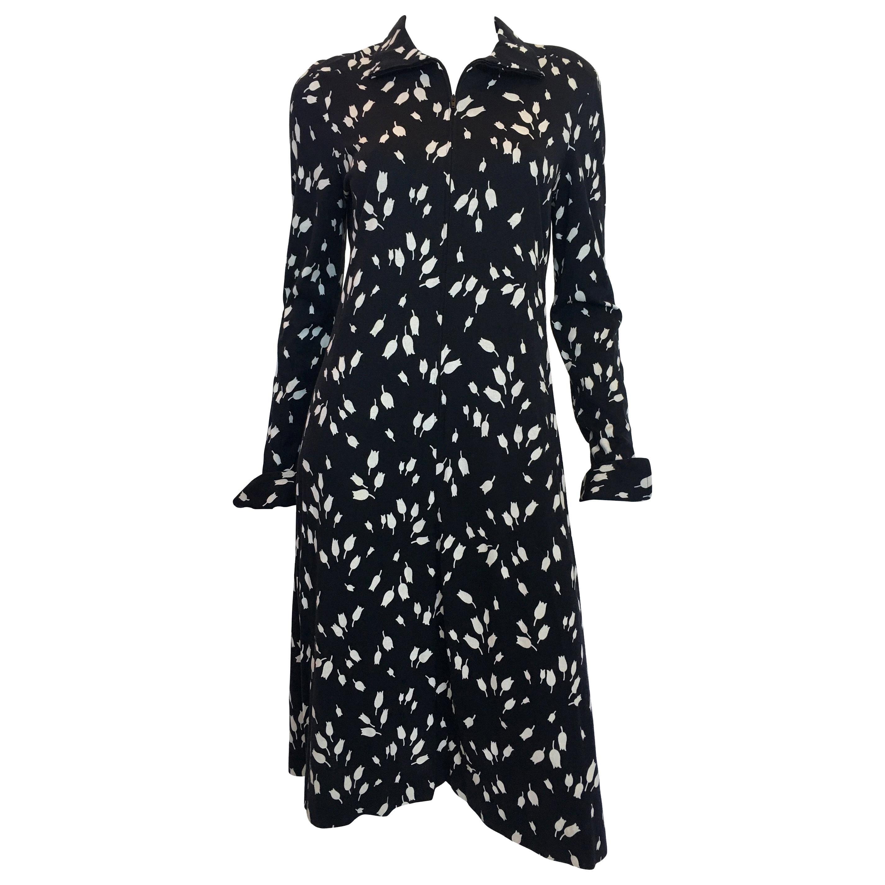 Diane Von Furstenberg Black and White Tulip Dress, 1970's