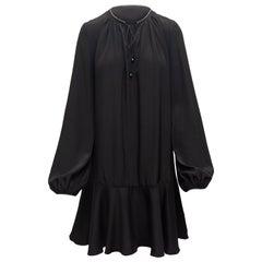 Diane Von Furstenberg Black Bishop Sleeve Dress