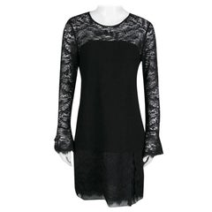 Diane Von Furstenberg Black Drop Waist Lavana Lace Dress M