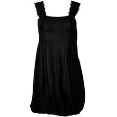Diane von Furstenberg Black Silk Pleated Dress Sz 4
