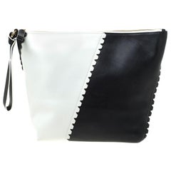 Diane Von Furstenberg Black/White Leather Wristlet