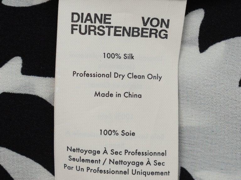 Diane Von Furstenberg Black & White Silk Wrap Dress For Sale 1