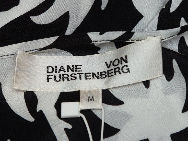 Diane Von Furstenberg Black & White Silk Wrap Dress For Sale 2