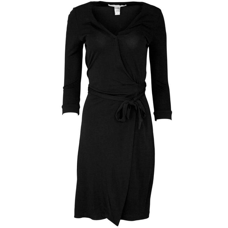 Diane von Furstenberg Black Wrap Dress Sz 4