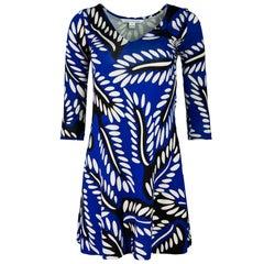 Diane von Furstenberg Blue, Black & White Silk Print Dress Sz 0