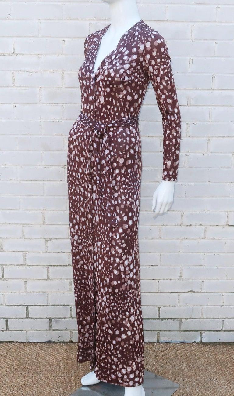 Diane Von Furstenberg Brown Polka Dot Print Maxi Dress With Scarf, 1970's For Sale 5