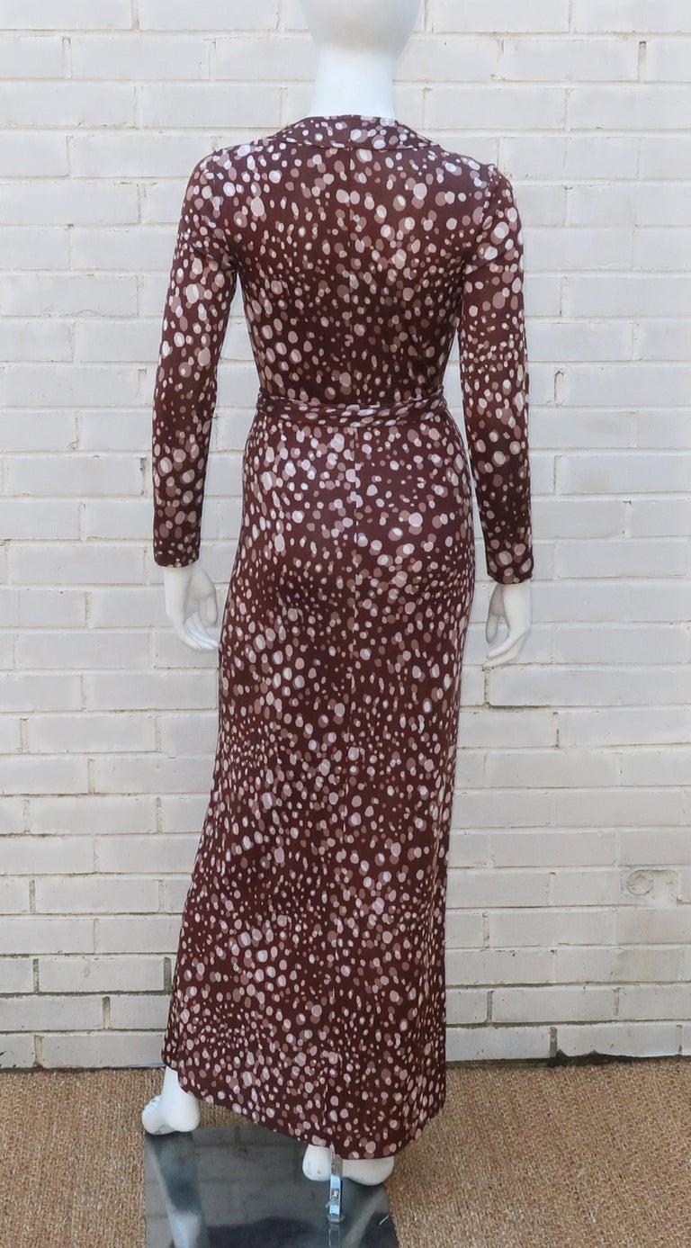 Diane Von Furstenberg Brown Polka Dot Print Maxi Dress With Scarf, 1970's For Sale 7