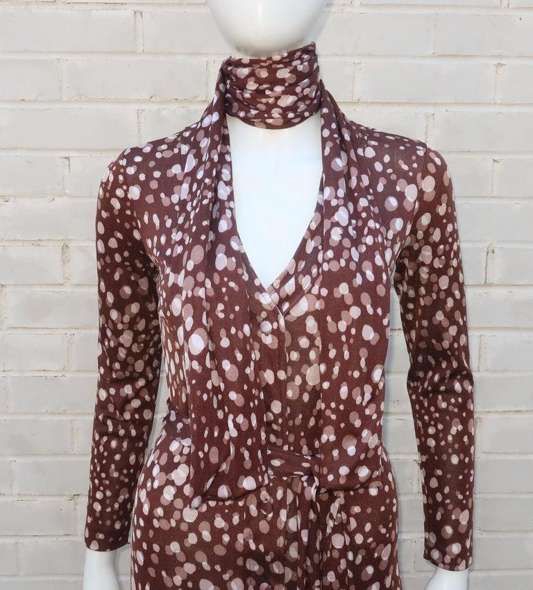 Diane Von Furstenberg Brown Polka Dot Print Maxi Dress With Scarf, 1970's For Sale 8