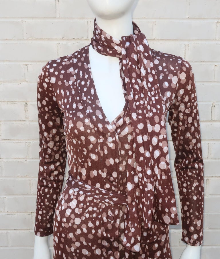 Diane Von Furstenberg Brown Polka Dot Print Maxi Dress With Scarf, 1970's For Sale 9