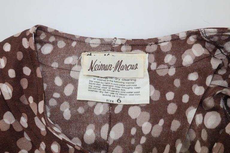 Diane Von Furstenberg Brown Polka Dot Print Maxi Dress With Scarf, 1970's For Sale 10