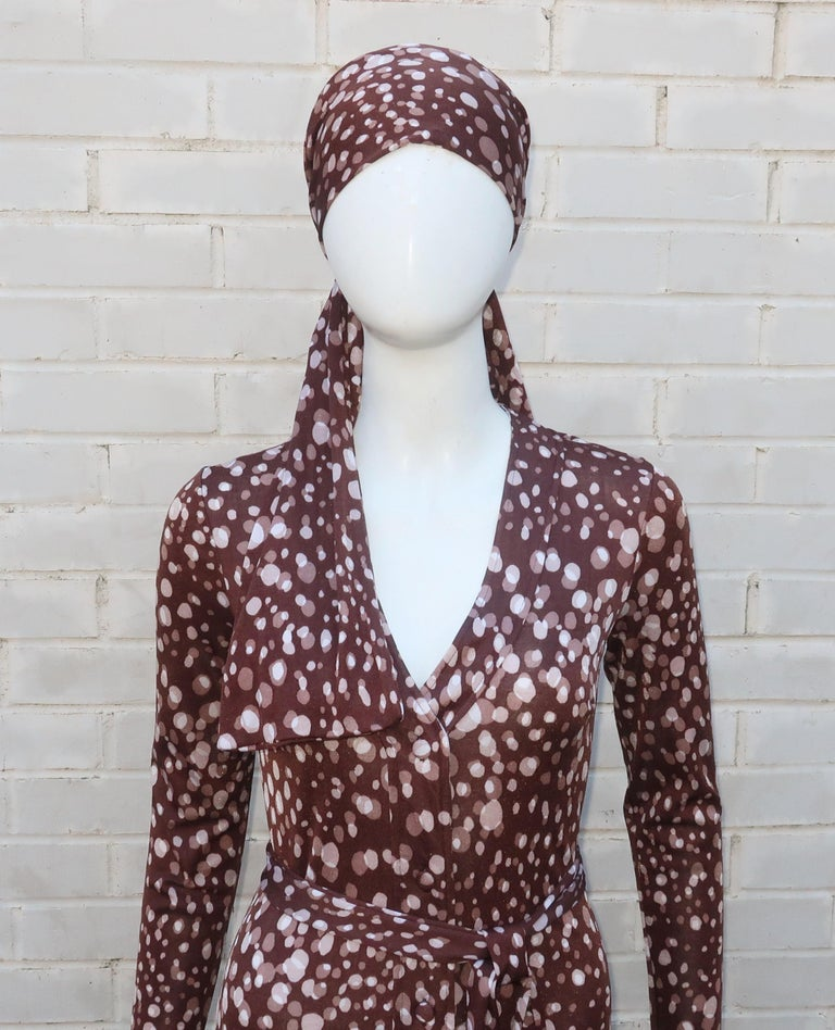 Black Diane Von Furstenberg Brown Polka Dot Print Maxi Dress With Scarf, 1970's For Sale