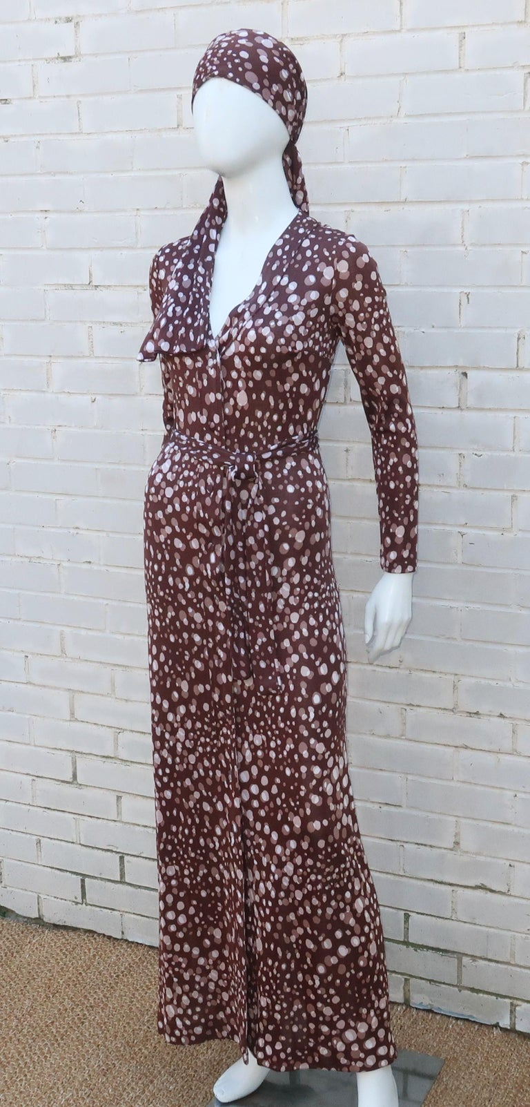 Women's Diane Von Furstenberg Brown Polka Dot Print Maxi Dress With Scarf, 1970's For Sale